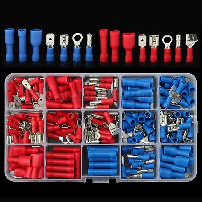 200Pcs Assorted Insulated Crimp Terminals Splice Spade Bullet Set Connectors Kit
