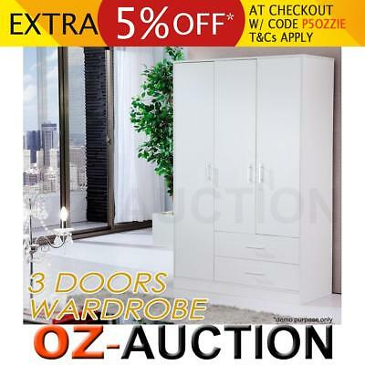 White Wooden Timber 3 Doors 2 Drawers Wardrobe Cabinet Bedroom Clothes Storage