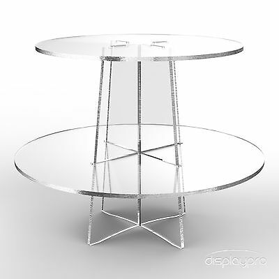 2 Tier Cup Cake Stand Wedding Birthday Party Acrylic Cupcake Display - Round