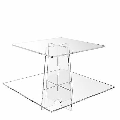 2 Tier Cup Cake Stand Wedding Birthday Cup Cake Acrylic Display - Square