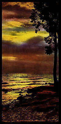 "Vintage 1950's ""by The Waters Of Minnetonka"" Sunset Calendar Art Print"