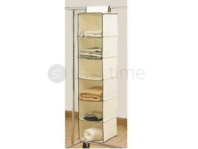 New 6 Shelves Hanging Cream Wardrobe Storage Unit Clothes Sweater Organiser Tidy