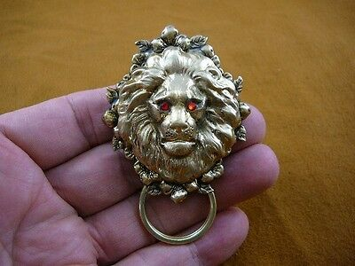(E-386) Red eyed Lion head flower brass Eyeglass pin pendant ID badge holder