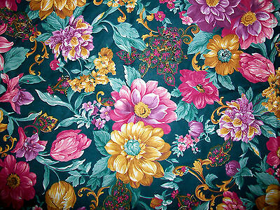 Pink & Golden Yellow Wildflowers On Green Cotton Fabric
