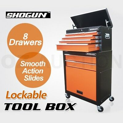 Shogun 8 Drawer 4 Castors Mechanic Trolley Tool Box Roller Cabinet Toolbox