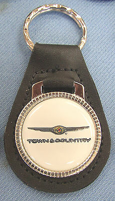 White TOWN & COUNTRY Chrysler Leather Keyring 1990 1991 1992 1993 1994 1995 1996