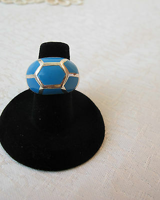 Massive Sterling Silver Ring Inlaid With Beautiful Blueb Turquoise Size 9