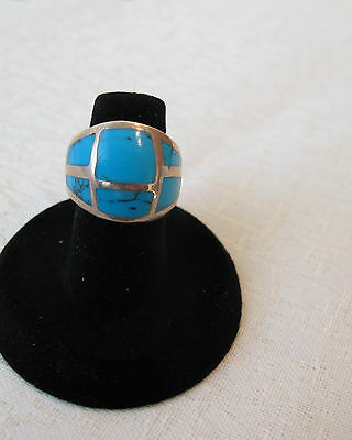Massive Sterling Silver Ring Inlaid With Beautiful Bluegreen Turquoise Size 7