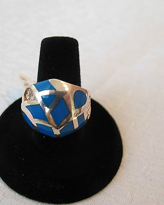 Massive Sterling Silver Ring Inlaid With Beautiful Blue Turquoise Size 6
