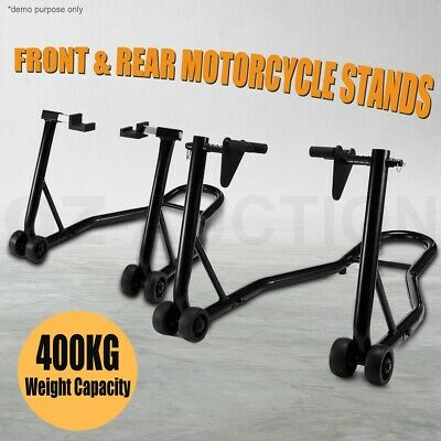Motorcycle Stands Front & Rear Motorbike Lift Paddock Pair Heavy Duty 400KG