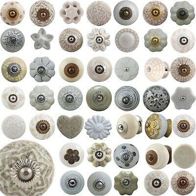 WHITE Door Knobs Ceramic Shabby Chic Handles Cupboard Drawer Pulls MIX & MATCH