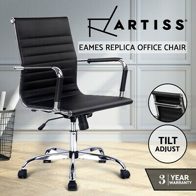 Eames Replica Premium PU Leather Office Chairs Executive Work Computer Black