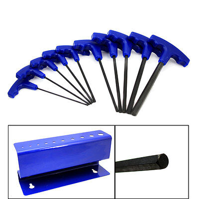 10 pc SAW Standard Size T-handle Grip Long Hex Key Allen Wrench Hand Tool SAE