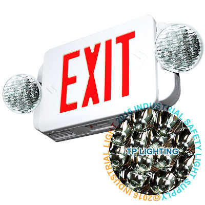 LED Exit Sign & Emergency Light – High Output - RED Compact Combo UL 924