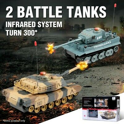 RC Infrared Radio Remote Control Duel Battle Tanks Toys Car Battle Set of 2