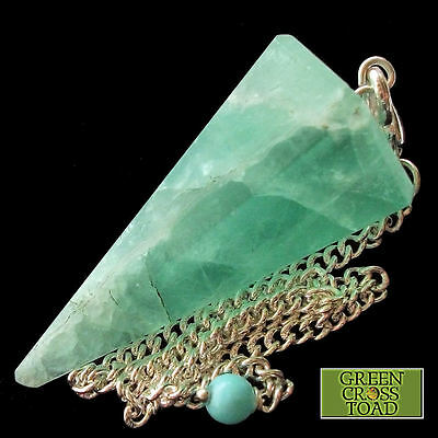 Green Fluorite Dowsing Pendulum Crystal Point Dowser Flurospar Chakra