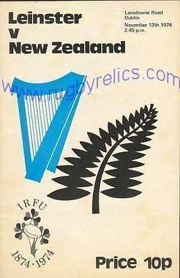 NEW ZEALAND ALL BLACKS TOUR 1974 v LEINSTER RUGBY PROGRAMME