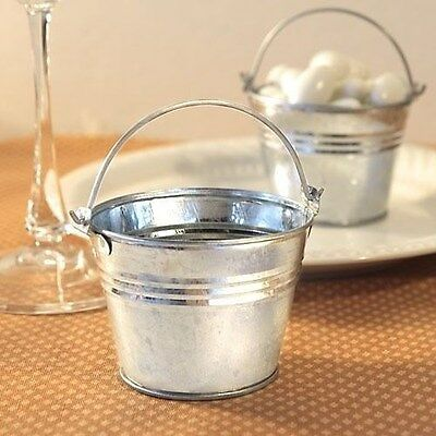 100 Miniature Silver Galvanized Treat Pail Bucket Wedding  & Baby Shower Favors