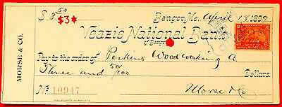 1899 Veazie National Bank Bangor Maine Cancelled Check Morse & Co.