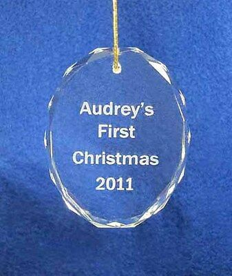 Engraved Personalized Crystal Babies oval 1st First Christmas Ornament 2018