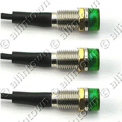 3 Green 12v LED Pilot Dash Indicator Accent Lights Lamps Lamp Light Toggle