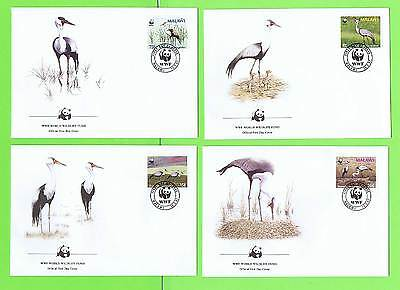 Malawi 1987 WWF Wattled Crane Bird set of four First Day Covers