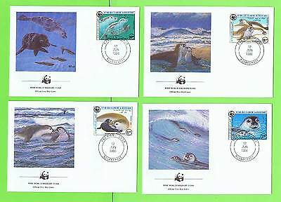 Maurutania 1986 WWF Monk seal set of four First Day Covers