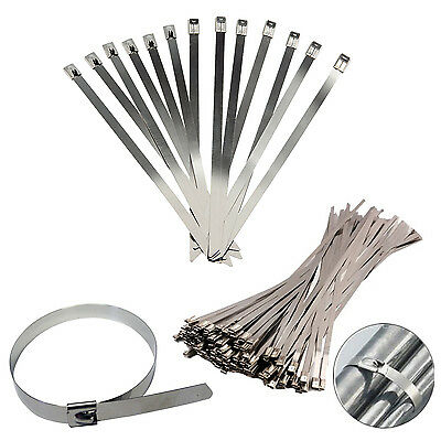 Stainless Steel Metal Cable Ties Tie Zip Wrap Exhaust Heat Straps Induction Pipe