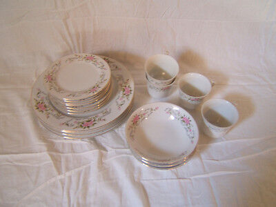 Pinkrose Fine China Japan 20 piece Service for 4 Excellent condition dlw