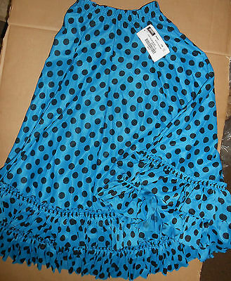 NWT Dotted Flamenco Double Ruffled Paneled Skirt Turquoise Large Child Crepe