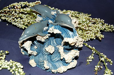 Resin Three Gray Dolphins Swimming On The Waves Figurine