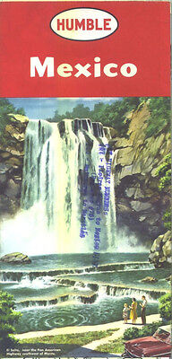 1957 Humble Mexico Vintage Road Map / Nice Cover Graphics !!