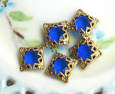 Vintage Filigree Findings Charms Pendants Gold Tone Beads Connectors Square #751