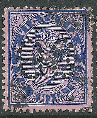 1901 - 1910 VIC Victoria Australia QV 2/- Blue Pink Postage OS Perfin REF:OS008