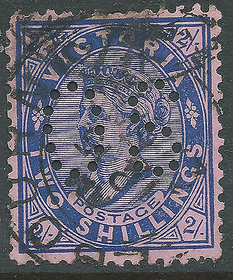 1901 - 1910 VIC Victoria Australia QV 2/- Blue Pink Postage OS Perfin REF:OS009