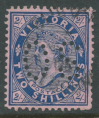 1901 - 1910 VIC Victoria Australia QV 2/- Blue Pink Postage OS Perfin REF:OS015