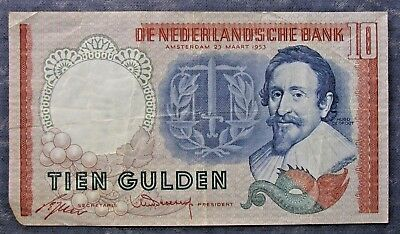 1953 Netherlands 10 Gulden Note; Circulated Note