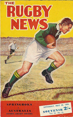AUSTRALIA v SOUTH AFRICA  26 May 1956 1st Test RUGBY PROGRAMME, SYDNEY