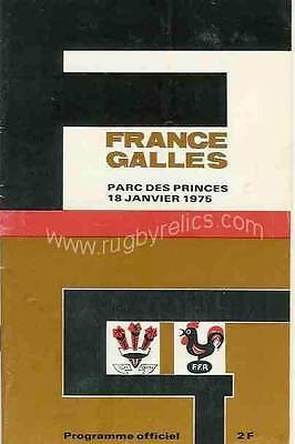 FRANCE v WALES 18 Jan 1975 RUGBY PROGRAMME, PARIS