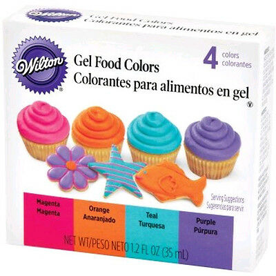 Neon Gel Food Coloring Set Wilton Purple Magenta Teal Orange