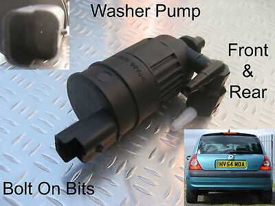 Front & Rear Windscreen Washer Pump Renault Clio Mk2 2001 2002 2003 2004 2005