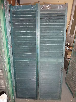 """PaiR antique victorian FIXED louvered house window SHUTTERS GREEN 65.5"""" x 17"""