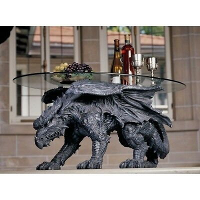 "Oversized Prehistoric Dragon Crawling Side Table Statue 33"" Long With Glass"
