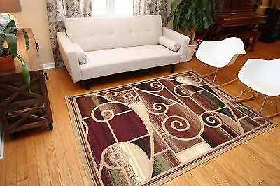 New Area Rug Beige Brown Modern Squares Fast Shipping Generations 8006