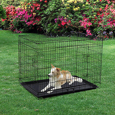 """Pawhut 42"""" Folding Metal Dog Crate Kennel Pet House Cage W/ Tray"""