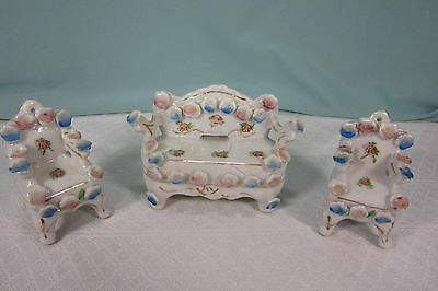 Gemco Mini porcelain furniture Sofa 2 Chairs Occupied Japan Marked Set  3 three