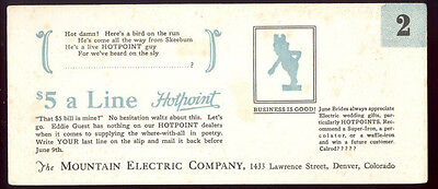 1930s MOUNTAIN ELECTRIC CO * 4 DIFFERENT OLD UNUSED ADV HOTPOINT * BLOTTERS B17