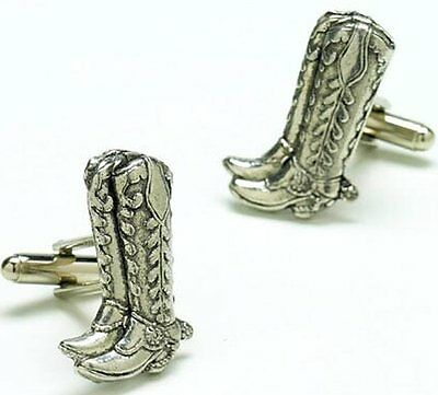 English Pewter Handcrafted Western Cowboy Boots Cufflinks Keyring & Pin Badge