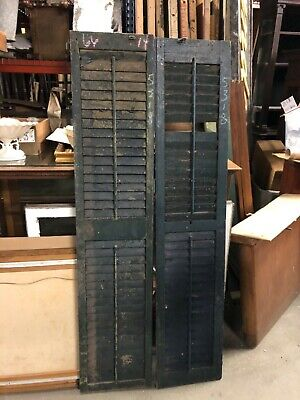 "c1900 PaiR victorian louvered house SHUTTERS green 66"" high & 14"" w x 1.25"""