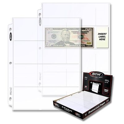 10 BCW 4 Pocket Pages for Regular Dollar Bills Currency - Money Binder Sheets